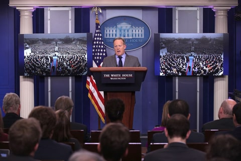White House Press Secretary Sean Spicer makes a statement to members of the media at the James Brady Press Briefing Room of the White House January 21, 2017 in Washington, DC. This was Spicer's first press conference as Press Secretary where he spoke about the media's reporting on the inauguration's crowd size.