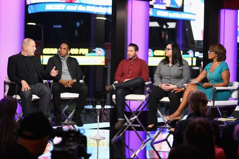 MARCH 08: (L-R) Harvey Weinstein, Jay Z, Jenner Furst, Nicole Browder, and Gayle King speak onstage during TIME AND PUNISHMENT: A Town Hall Discussion with JAY Z and Harvey Weinstein on Spike TV at MTV Studios on March 8, 2017 in New York City