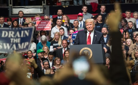 US President Donald Trump looks on as he speaks during a rally in Nashville, Tennessee on March 15, 2017. Trump vows to challenge travel ban block at Supreme Court if needed he said during the rally.