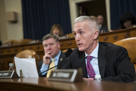 rey Gowdy (R-SC) questions witnesses during a House Permanent Select Committee on Intelligence hearing concerning Russian meddling in the 2016 United States election, on Capitol Hill, March 20, 2017 in Washington, DC.