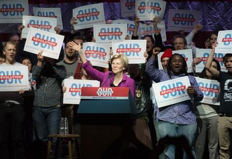 Progressive US Senators Elizabeth Warren speaks in Boston for a Our Revolution Rally, Friday, March 31st, 2017.