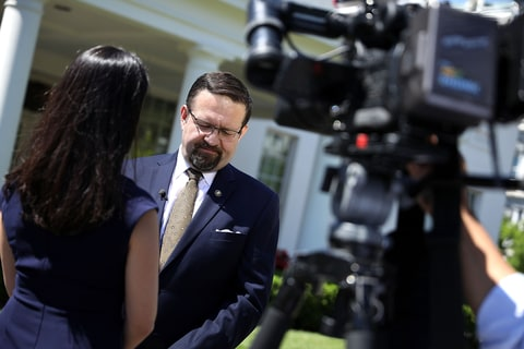 White House Deputy Assistant To The President Sebastian Gorka participates in a television interview outside the White House West Wing June 9, 2017 in Washington, DC. A former national security editor for Breitbart, Gorka has hard-line stands on Islam and terrorism and past involvement in right-wing Hungarian politics.