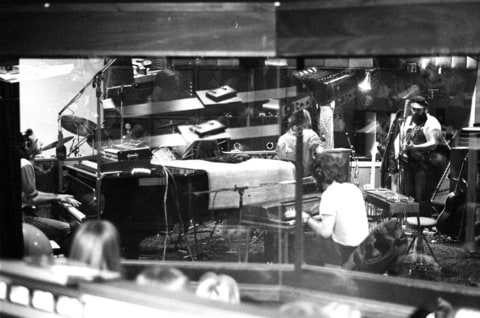 Donald Fagen, Walter Becker, Denny Dias of the rock group 'Steely Dan' record a session with Michael McDonald in the studio in circa 1975.
