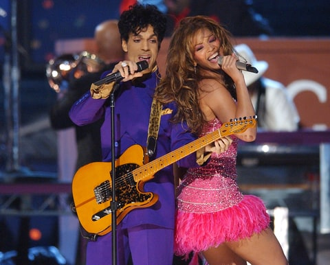 Prince and Beyonce perform a medley of his hits at the Staples Center in Los Angeles, California.
