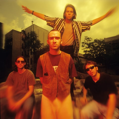 American alternative rock band Live (L - R ) bassist Patrick Dahlheimer, lead vocalist/guitarist Ed Kowalczyyk, lead guitarist ChadTaylor and drummer Chad Gracey pose for a July 1995 portrait in New York City, New York.