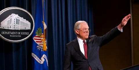 US Attorney General Jeff Sessions waves after speaking on the Deferred Action for Childhood Arrivals (DACA) program on September 5, 2017, at the Justice Department in Washington, DC. US President Donald Trump on Tuesday ended an amnesty that protected from deportation 800,000 people brought to the United States illegally as minors. 'I am here today to announce that the program known as DACA that was effectuated under the Obama Administration is being rescinded,' Sessions said.