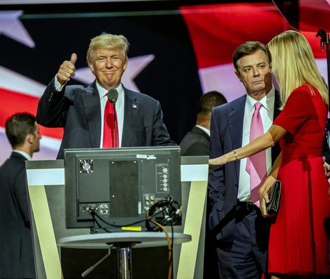 American real estate developer and presidential candidate Donald Trump (center) on stage during the sound check on the final day of the Republican National Convention at Quicken Loans Arena, Cleveland, Ohio, July 21, 2016. Among those visible with him are campaign manager Paul Manafort (second right) and Ivanka Trump.