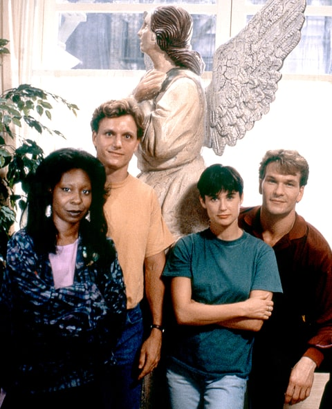 Whoopi Goldberg, Tony Goldwyn, Demi Moore and Patrick Swayze on the set of Ghost.