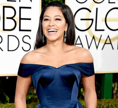Gina Rodriguez arrives at the 73nd annual Golden Globe Awards.