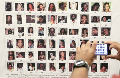 Dec. 16, 2010, file photo, Photographs found in the possession of Lonnie David Franklin Jr. are shown before a news conference in Los Angeles. Relatives of victims will urge a Los Angeles Superior Court judge Friday, Feb. 6, 2015.