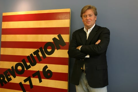 Documentary filmmaker Stephen Bannon in his office in Santa Monica, Calif., June 20, 2005. Though heavier than most on messianic zeal, Bannon -- Roman Catholic filmmaker, conservative-film financier, Washington networker and Hollywood deal-chaser -- is emblematic of a new wave in Hollywood, a group that intends to clean those media pipes with pictures that promote godliness, Pax Americana and its own view of family values.
