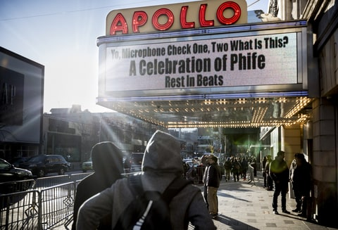 The Apollo Theater's marquee advertises a memorial for Phife Dawg, the late A Tribe Called Quest rapper, in New York, April 5, 2016. A who's who of hip-hop titans from every generation came out to pay tribute to Phife, who many credited as a bridge from the genre's traditions to its future.