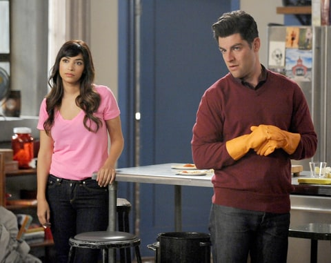 Hannah Simone and Max Greenfield on New Girl.
