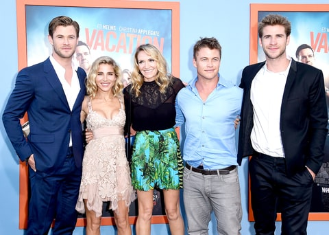 Chris Hemsworth, Elsa Pataky, Samantha Hemsworth, Luke Hemsworth and Liam Hemsworth arrives at the Premiere Of Warner Bros.