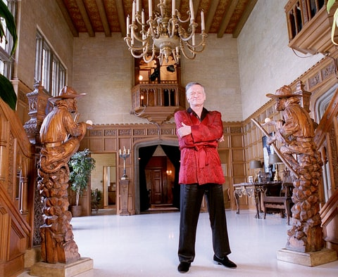Hugh Hefner in Feb. 1999 at his Playboy Mansion in Holmby Hills, CA.