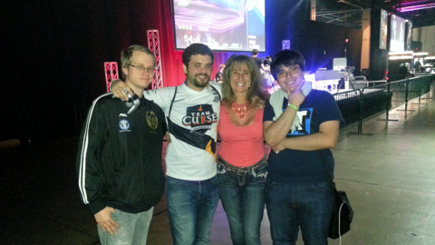 Left to right: Adam 'Armada' Lindgren, Hungrybox, Lucia Debiedma, Gonzalo 'ZeRo' Barrios.