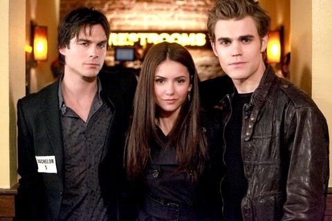 Ian Somerhalder as Damon, Nina Dobrev as Elena and Paul Wesley as Stefan in The Vampire Diaries