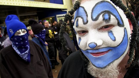 Hours before the doors open Brian Calvert, 19, right, of St. Joseph, Mo., waits to enter the Insane Clown Posse concert at the Granada night club in downtown Lawrence, Kan., on Saturday, March 8, 2003. Followers of the musical group call themselves ''Juggalos.'' (AP Photo/Lawrence Journal-World, Aaron Lindberg)