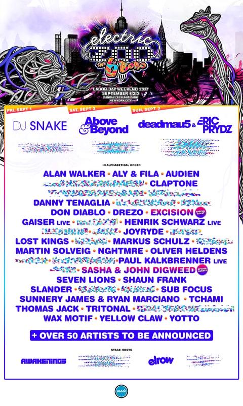 Deadmau5, DJ Snake Headline 2017 Electric Zoo Festival