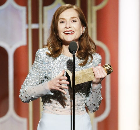 Isabelle Huppert accepts the award for Best Actress in a Motion Picture - Drama for her role in