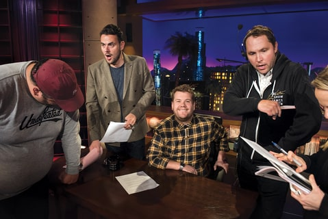 Corden on set with producers of Late Night Show