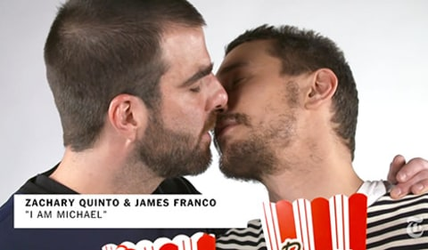 Zachary Quinto and James Franco Kissing