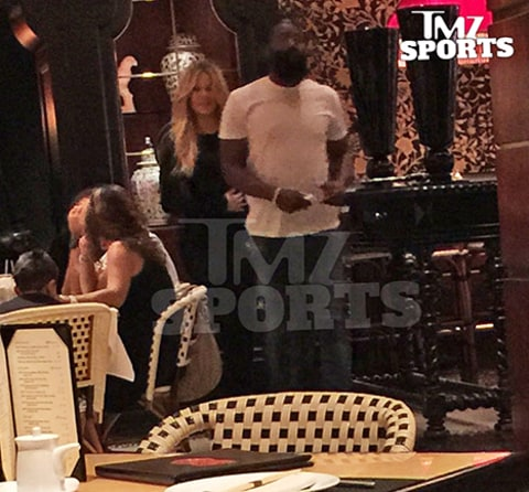 khloe and james harden at restaurant
