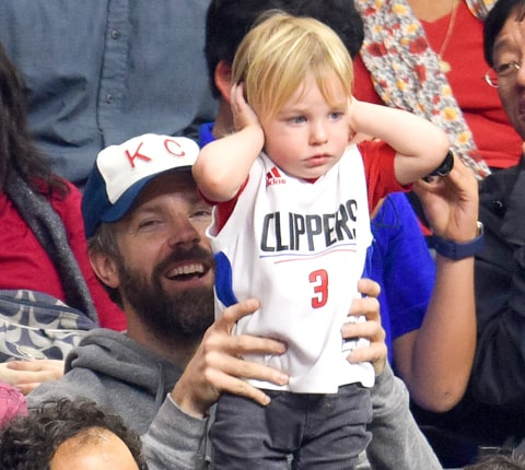 Jason Sudeikis and Otis Alexander Sudeikis attend a basketball game between the Chicago Bulls and the Los Angeles Clippers at Staples Center on January 31, 2016 in Los Angeles, California.