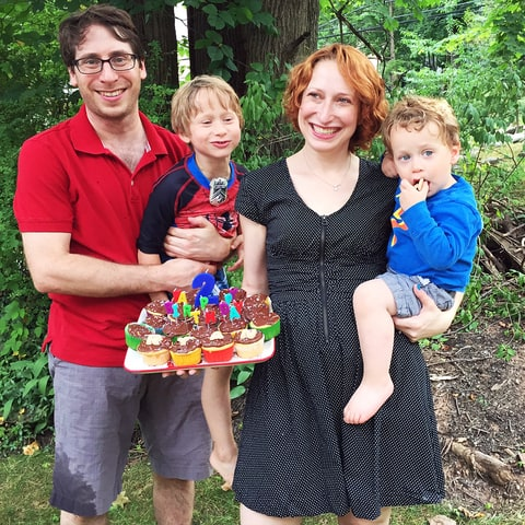 Writer Jen Simon, her husband and sons