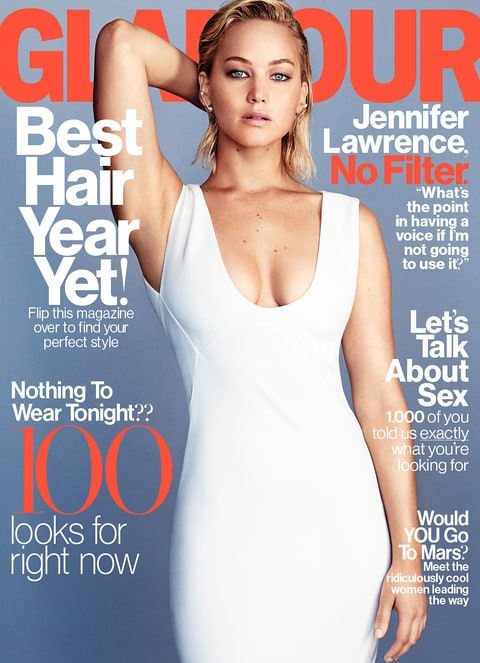 Jennifer Lawrence on the cover of 'Glamour.'