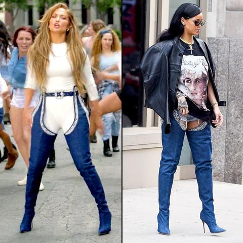 Jennifer Lopez and Rihanna Wear Same Denim Thigh-High Boots: Pics ...