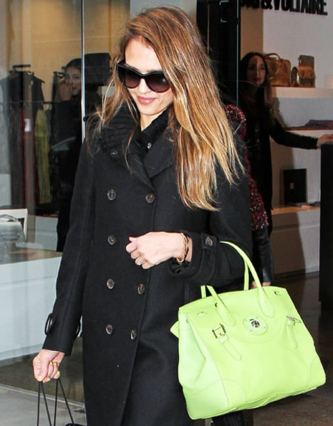 jessica alba green purse