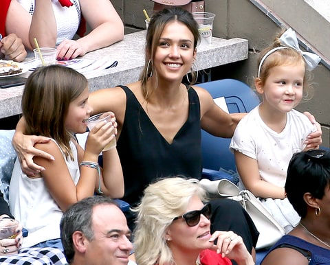 Jessica Alba and her daughters, Honor and Haven Warren, attend the women's final at Arthur Ashe Stadium on day 13 of the 2016 U.S. Open at USTA Billie Jean King National Tennis Center on Sept. 10, 2016, in Queens, NY.