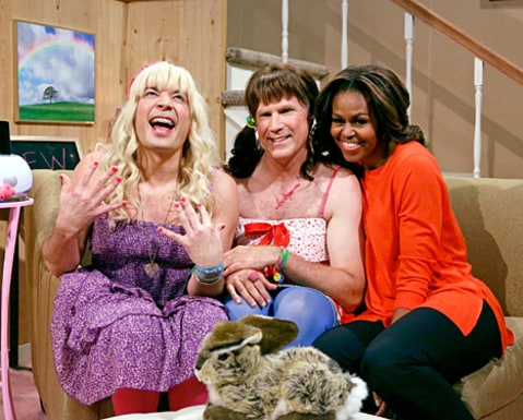 Michelle Obama, Jimmy Fallon and Will Ferrell