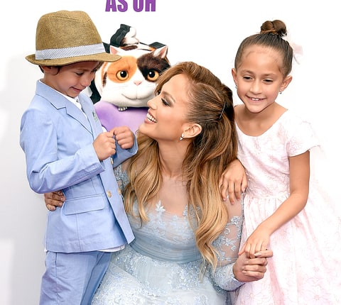 Jennifer Lopez with daughter Emme and son Max attends the premiere of Twentieth Century Fox And Dreamworks Animation's