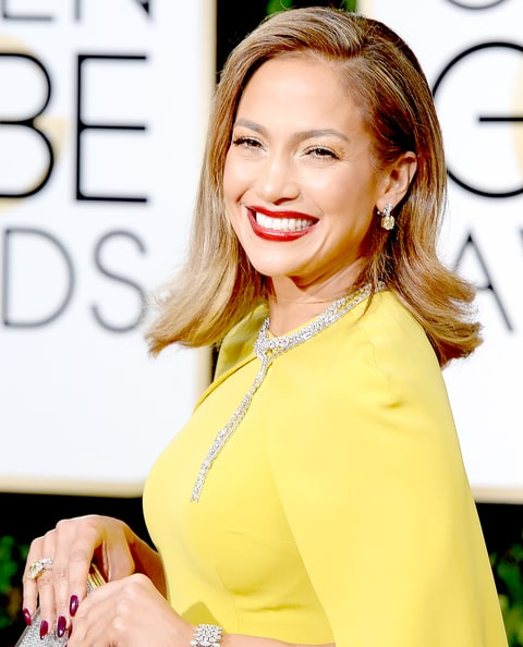 Jennifer Lopez arrives to the 73rd Annual Golden Globe Awards.
