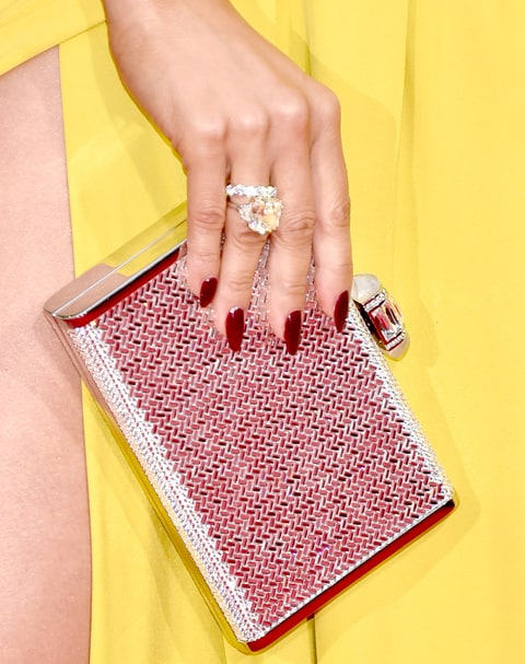 Jennifer Lopez, clutch and ring detail, attends the 73rd Annual Golden Globe Awards,