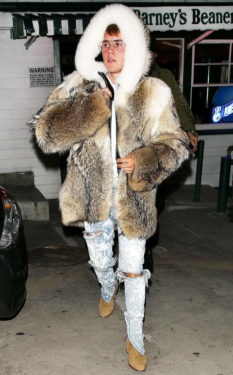 Justin Bieber Wears Fur Coat Acid-Wash Jens: Reactions - Us Weekly