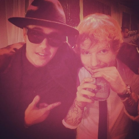Justin Bieber and Ed Sheeran at wedding
