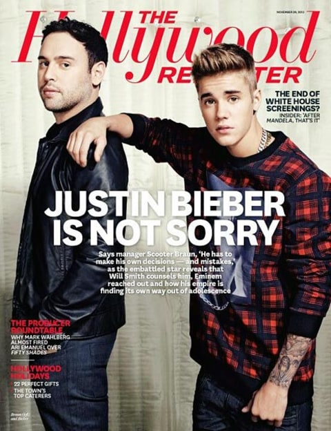 bieber on THR cover