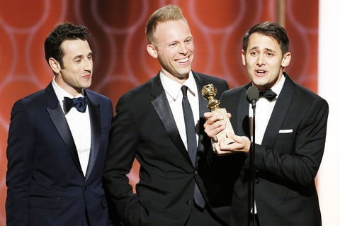 Justin Hurwitz, Benj Pasek and Justin Paul accept the award for Best Original Song- Motion Picture for