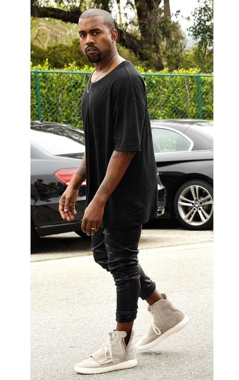 Kanye West Kanye West wearing his Yeezy Boost ...