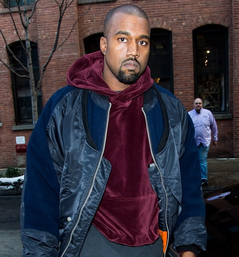 Kanye West is seen arriving at Jeremy Scott fashion show during Mercedes-Benz Fashion Week Fall 2015 at Milk Studios on February 18, 2015 in New York City.