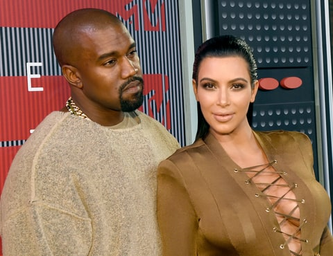 Kayne West and Kim Kardashian attend the 2015 MTV Video Music Awards at Microsoft Theater on August 30, 2015 in Los Angeles, California.