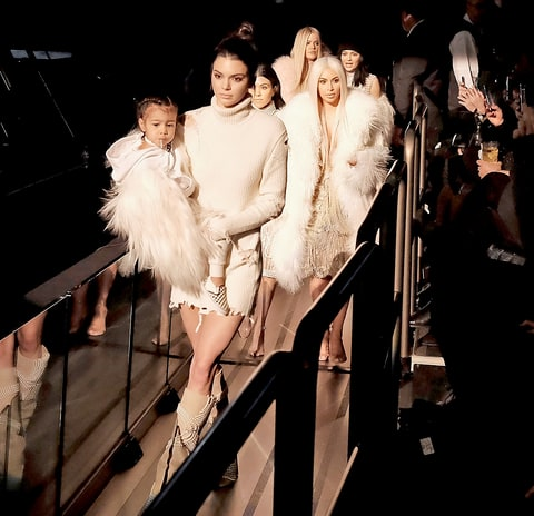North West, Kendall Jenner, Kourtney Kardashian, Kim Kardashian, Khloe Kardashian and Kylie Jenner attend Kanye West Yeezy Season 3 on February 11, 2016.