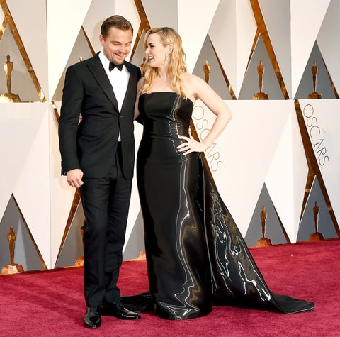 Leonardo DiCaprio and Kate Winslet attend the 88th annual Academy Awards.