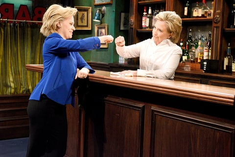 Kate McKinnon as Hillary Clinton and Hillary Clinton as Val during the