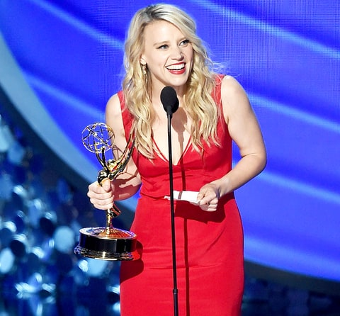 Kate McKinnon accepts Outstanding Supporting Actress in a Comedy Series for 'Saturday Night Live' on stage during the 68th Annual Primetime Emmy Awards.