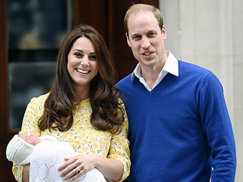 kate, william and charlotte outside hospital