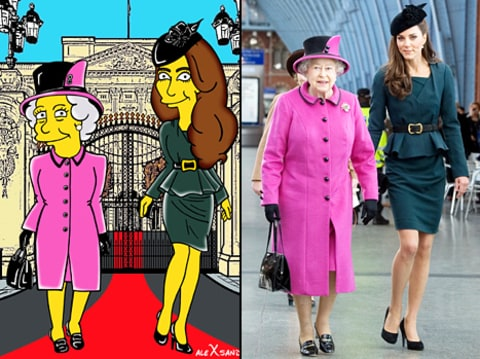 kate middleton and queen elizabeth simpsonized